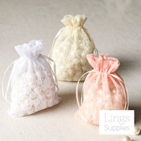 10x15cm Organza Lace Bags White/Cream/Blush Pink Wedding Favor Gift Jewelry Drawstring Bag