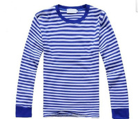 Blue polycotton crew neck stripe full size man long sleeve man tshirts