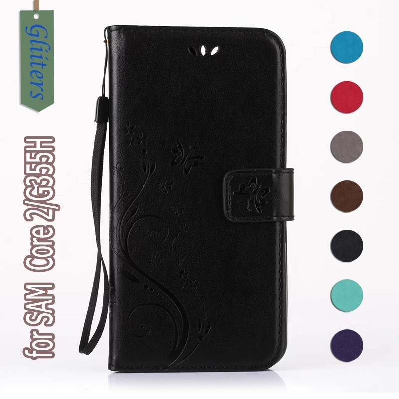 Gliiters butterfly leather flip back cover case housing for samsung galaxy core 2 duos g355h cases drop shipping