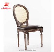 Antique Dining Room Furniture Cane Back Shabby Chair Rattan Round Back Wooden Chair