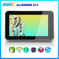 "low tablet price 7"" android tablet allwinner a13 processor easy touch screen for various games"