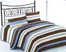Modern Style 70gsm Stitching Microfiber Polyester Printed Bed Sheet Set With Stripe Design