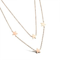 Marlary New Design Fashionable Stainless Steel Star Pendant Simple Style Rose Gold Plated Multilayer Necklace