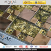 interior decoration living room gold stainless steel mix glass mosaic tile