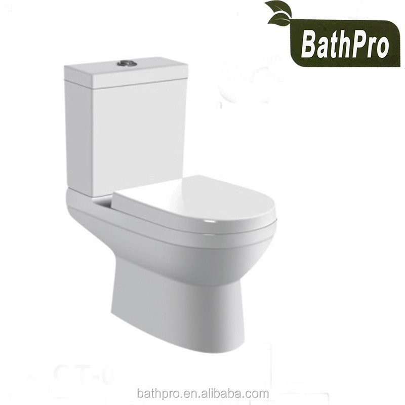 Ceramic material washdown flush method two-piece hotel style wc toilet