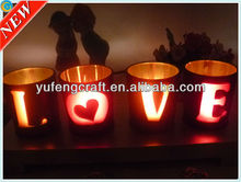 LOVE TEALIGHT glass candle holder set-4