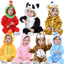 2017 baby winter carton jumpsuits animal cat tiger rabbit Pajamas many design OEM