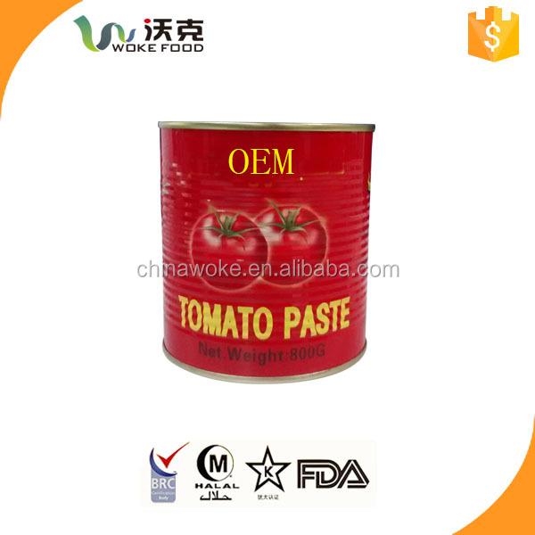 28-30% 850g Canned tomato paste with FDA certification