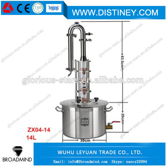 DIY Moonshine Ethanol New Stainless Steel 14 Litre Spirits(alcohol) Distillation Boiler Complete System Home Brewing equipment