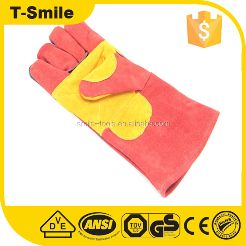 Mens cheap leather winter work insulated custom logo long cuff gloves