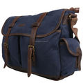Navy blue vintage canvas ladies messenger bag with leather trim