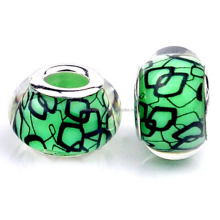 Special Design European Charm Green Lampwork Resin Glass Big Hole Beads In Bulk