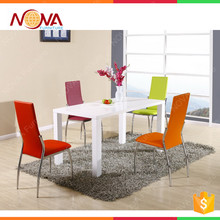 Home furniture cheap high end MDF gloss dining table and chair set best quality luxury modern design dining room set