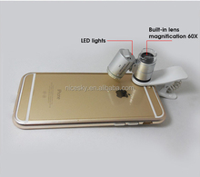 Wholesale Phone Magnifying Microscope Lens for iPhone 6 6s 60X20mm Zoom Cellphone LED Microscope