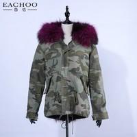 Fashion lambswool fur parka women long winter coat outerwear