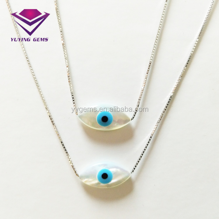 S925 Sterling Silver Marquise Evil Eyes Mother of Pearls Necklace <strong>Pendant</strong>