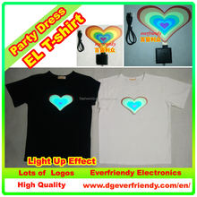 LED EL Flashing Heart T-shirt For Marriage proposal or Wedding EF21