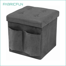 Lightweight stylish faux suede fabric storage ottoman cube with cushioned padding, ottoman chair, ottoman stool with side pocket