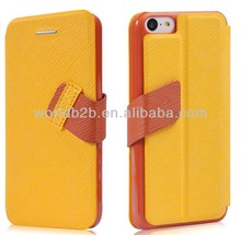 Book Style Stand Leather Case for iPhone 5C,New Arrival Two Tone Leather Case for iPhone 5C with Stand Design