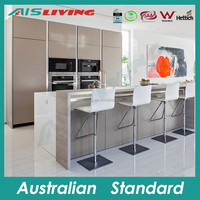 AISL1650 Prefab high gloss vinyl wrap doors cheap Australian standard kitchen cabinet