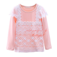Wholesale Pink Girls T-shirts With Lace Full Sleeve Baby Girl Tops Adorable Kids Clothes GT41015-12