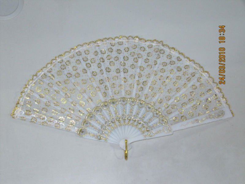 white plastic wedding lace hand fan