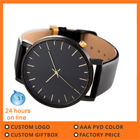 Japan movt quartz watch manufacturers custom mens fashion watch minimalist leather black