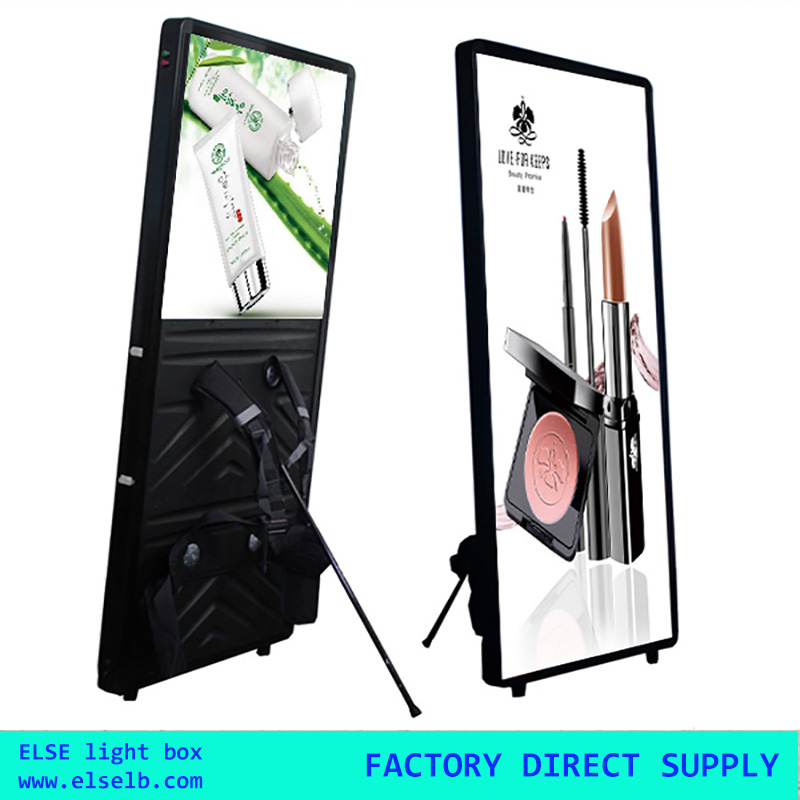 Double faced portable led mobile light box backpack walking billboard for promotion