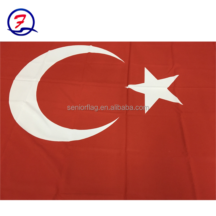 Screen Printing Polyester fabric Turkey national Flags