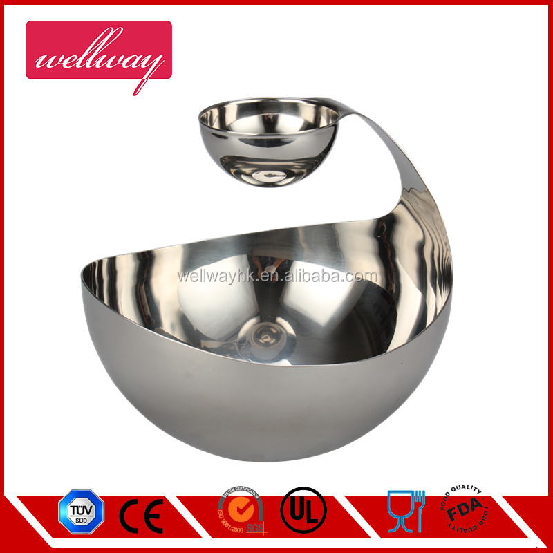 Elegant Stainless Steel Chip and N Dip Dish, Salad bowl with Sauce Cup