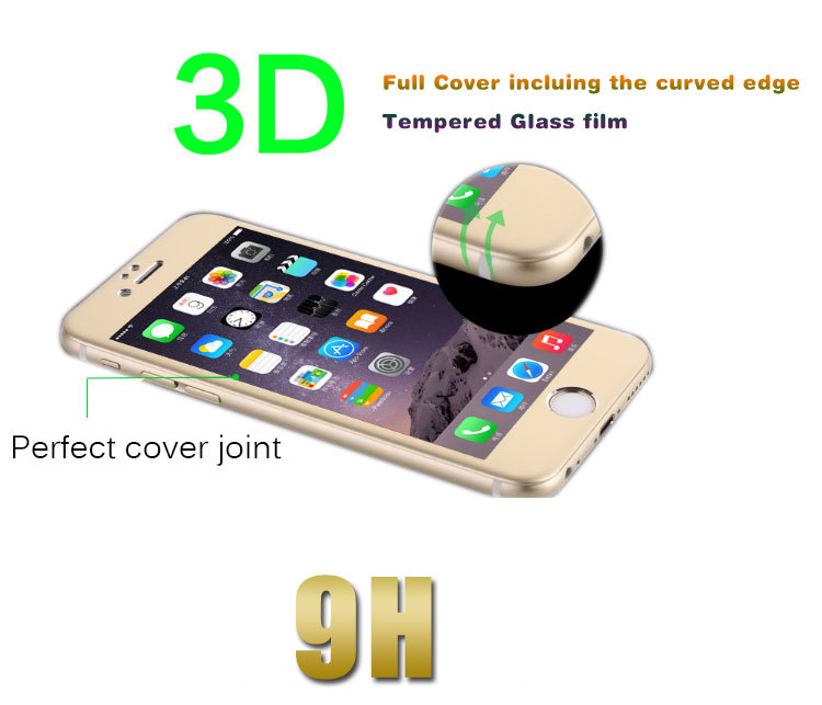 Front and back color screen guard for iphone 6 3D tempered glass screen protector