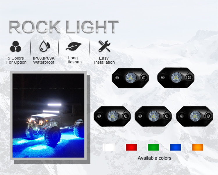 Most Popular 2inch Car Interior LED Rock Lights Offroad Led