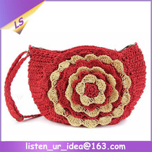Wholesale Women's Straw Knitting Floral Bag