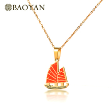 BAOYAN Tri Color Stainless Steel Boat Pendant Necklace