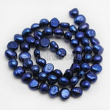 Natural freshwater pearls strand, 6-7mm natural blue pearl in bulk
