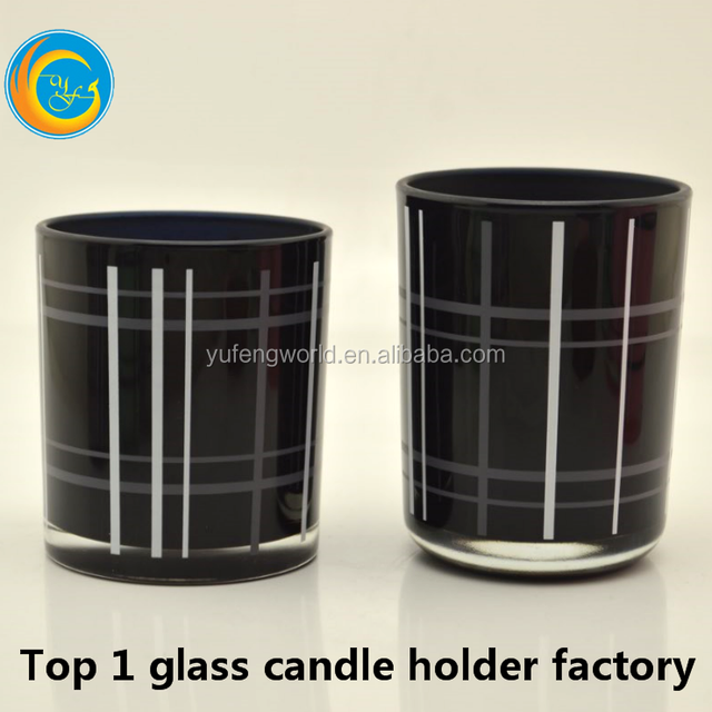 2017 black glass candle holder/jar for scented soy candle