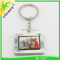 Hot Sale Zinc Alloy Utah Design Rotating Sticker Square Custom Keychain / Custom Made Keying