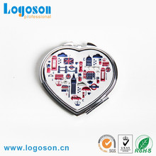 Wholesale novelty durable custom metal heart shaped compact mirror