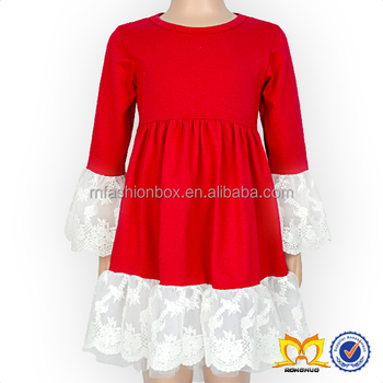 2017 Red Lace New Model Girl Dress Girls Cotton Frock Designs Baby Girl Dresses
