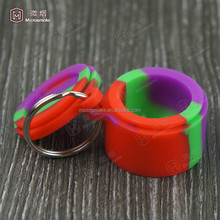 DHL free shipping 6ml Non-stick Silicone Container with key ring Wax Bho Oil Butane jar Vaporizer Silicon Jars wholesale