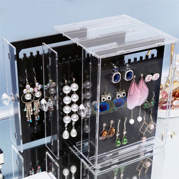 Transparent fashion acrylic jewelry box display earring storage box