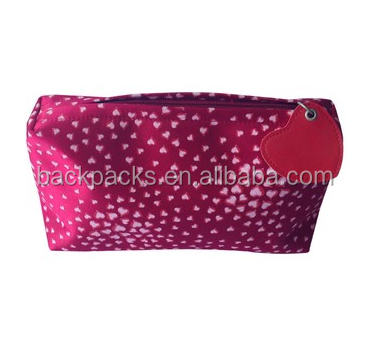 Polyester Cosmetic Bag w/ Heart Zip Pull