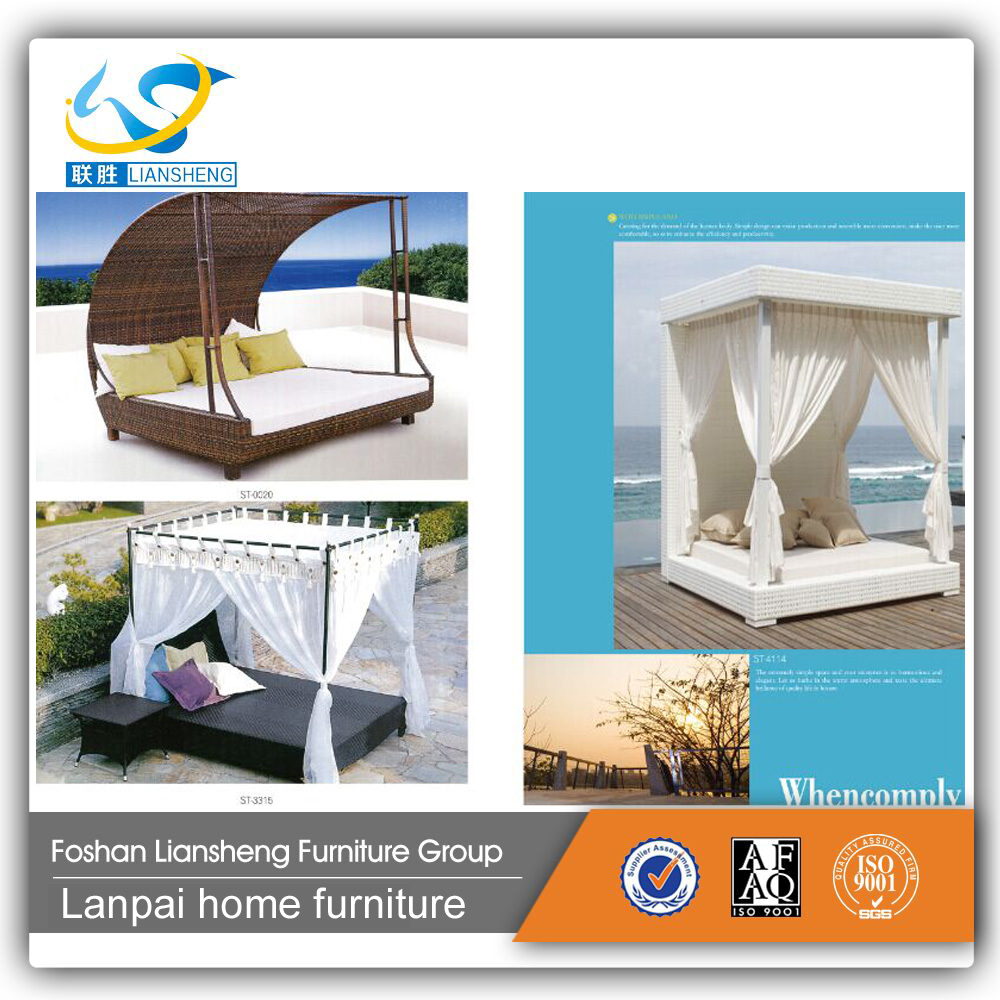 2016 new model PE rattan outdoor bed sun lounge with canopy