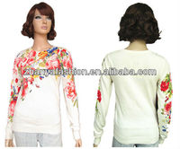 Ladies 100%cotton with flower active printing Pullover Sweaters