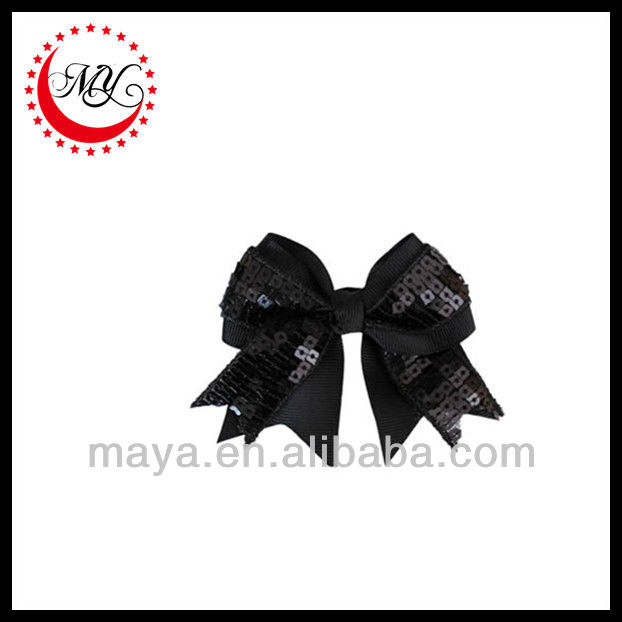 Beautiful black sequin cheerleading hair bows(approved by BV)