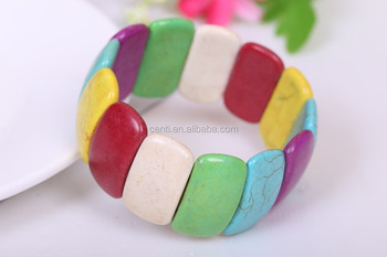 new design Europe colorful turquoise bangle handmade BOHO natural stone bangle