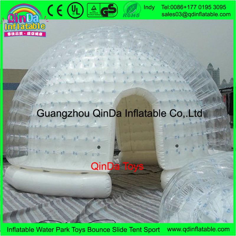 Double layer airtight inflatable clear dome garden tent,and PVC Hand-made tent inflatable