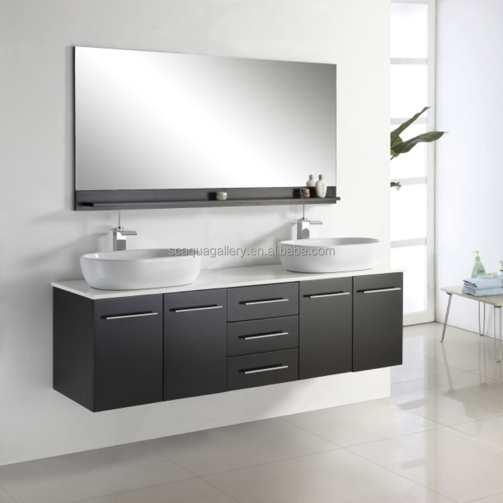 2017 Modern Black Bathroom Furniture Mirrored Bathroom Double Sink Vanity
