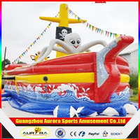New finished full printing pirate ship inflatable slide with factory price