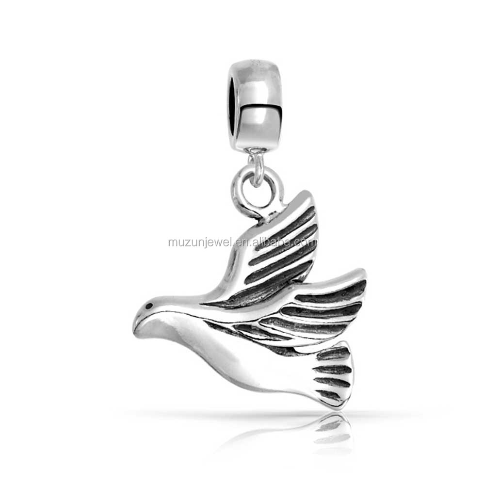 Bird peace dove 925 sterling silver animal charm beads for bracelet